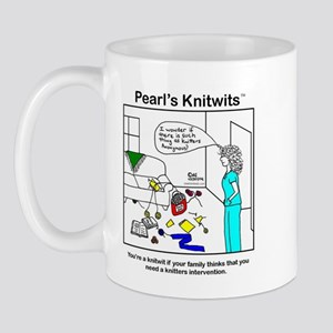 Pearl's knitting intervention mug