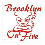 Brooklyn On Fire Square Car Magnet 3