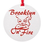 Brooklyn On Fire Round Ornament