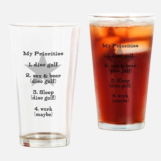 Disc golf t shirt Drinking Glass