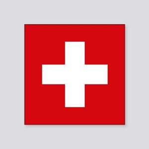 "Switzerland Flag Square Sticker 3"" x 3"""