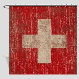 Vintage Switzerland Flag Shower Curtain