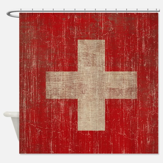 Vintage Switzerland Flag Shower Curtain