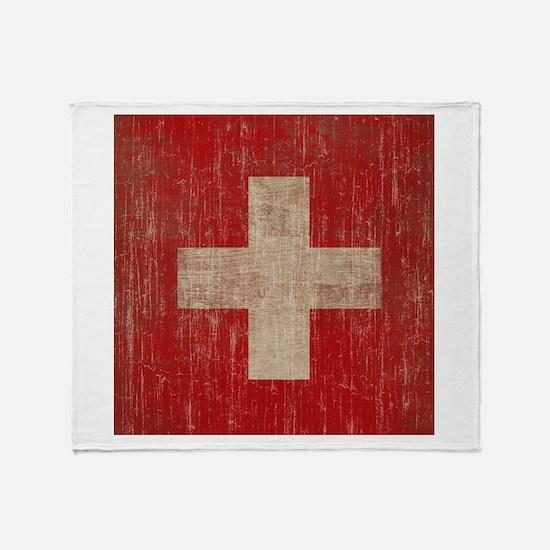 Vintage Switzerland Flag Throw Blanket