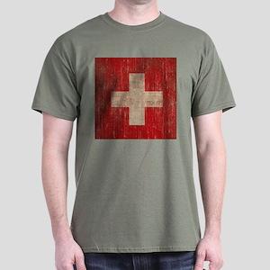 Vintage Switzerland Flag Dark T-Shirt