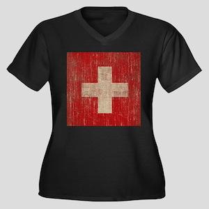 Vintage Switzerland Flag Women's Plus Size V-Neck