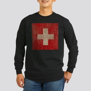 Vintage Switzerland Flag Long Sleeve Dark T-Shirt
