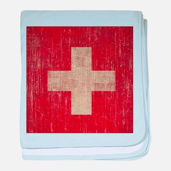 Vintage Switzerland Flag baby blanket