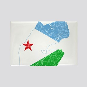 Djibouti Flag And Map Rectangle Magnet