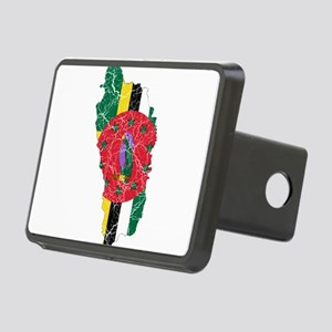 Dominica Flag And Map Rectangular Hitch Cover