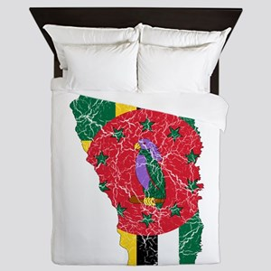 Dominica Flag And Map Queen Duvet