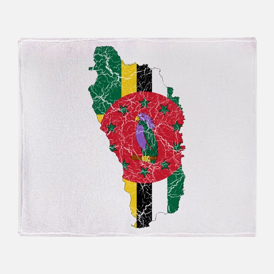 Dominica Flag And Map Throw Blanket