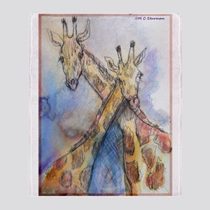 Giraffes! wildlife art Throw Blanket
