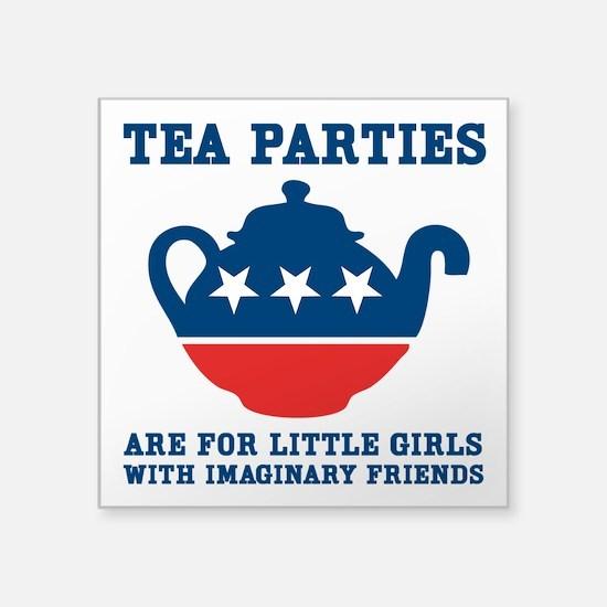 """Tea Parties Square Sticker 3"""" x 3"""""""