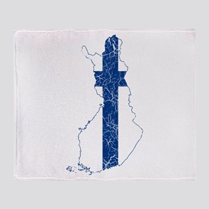 Finland Flag And Map Throw Blanket