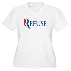 Anti-Romney Refuse Women's Plus Size V-Neck T-Shir