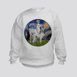 Starry Night with two Baby Llamas Kids Sweatshirt