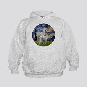 Starry Night with two Baby Llamas Kids Hoodie