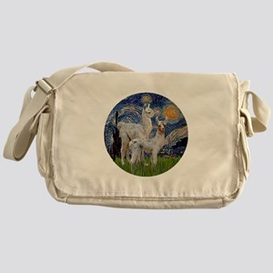 Starry Night with two Baby Llamas Messenger Bag