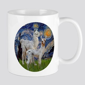 Starry Night with two Baby Llamas Mug