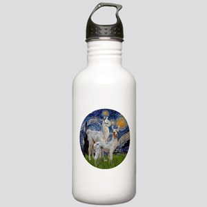 Starry Night with two Baby Llamas Stainless Water