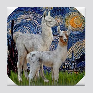 Starry Night with two Baby Llamas Tile Coaster