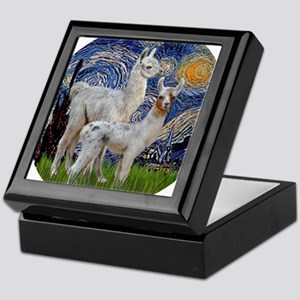 Starry Night with two Baby Llamas Keepsake Box