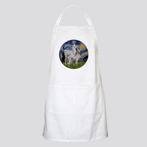 Starry Night with two Baby Llamas Apron