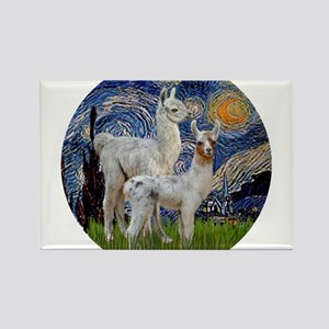 Starry Night with two Baby Llamas Rectangle Magnet