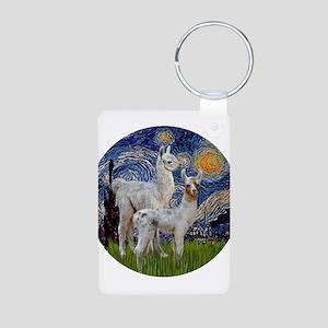 Starry Night with two Baby Llamas Aluminum Photo K