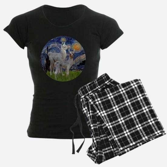 Starry Night with two Baby Llamas Pajamas