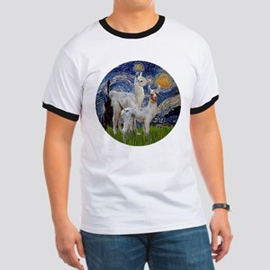 Starry Night with two Baby Llamas Ringer T