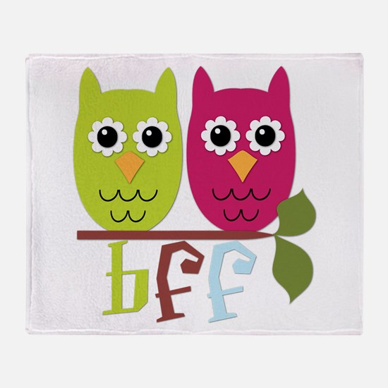BFF Best Friends Forever Owls Throw Blanket