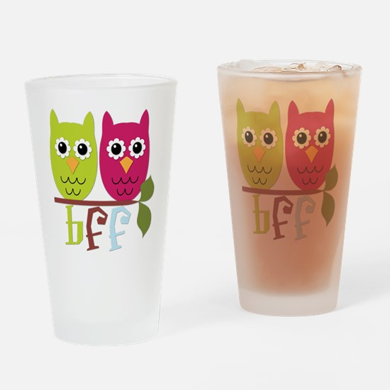 BFF Best Friends Forever Owls Drinking Glass