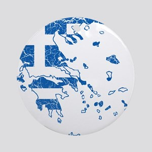 Greece Flag And Map Ornament (Round)