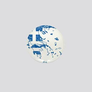 Greece Flag And Map Mini Button