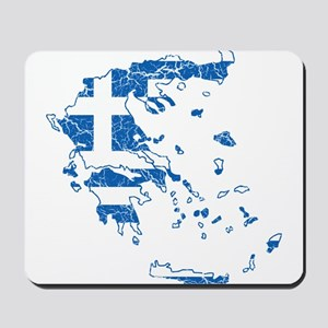 Greece Flag And Map Mousepad