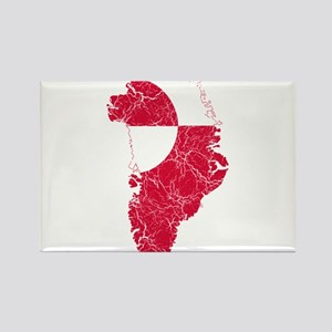 Greenland Flag And Map Rectangle Magnet