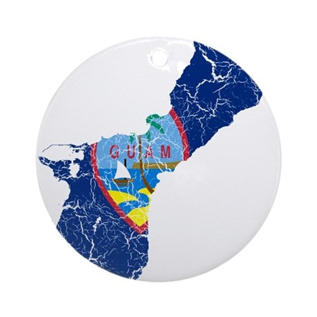 Guam Flag And Map Ornament (Round)