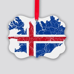 Iceland Flag And Map Picture Ornament