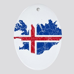 Iceland Flag And Map Ornament (Oval)