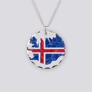 Iceland Flag And Map Necklace Circle Charm