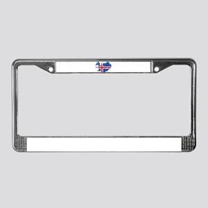 Iceland Flag And Map License Plate Frame