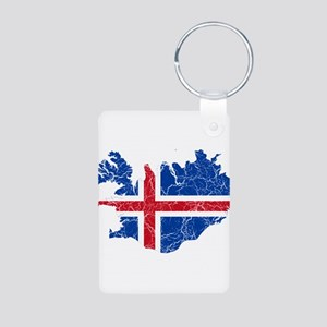Iceland Flag And Map Aluminum Photo Keychain