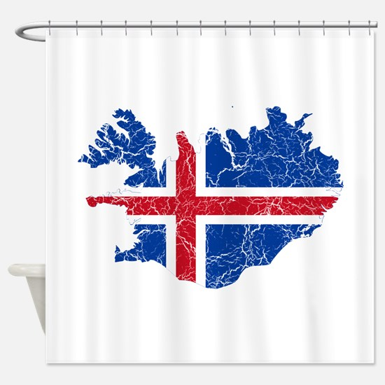 Iceland Flag And Map Shower Curtain