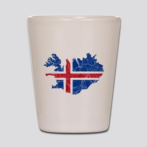Iceland Flag And Map Shot Glass