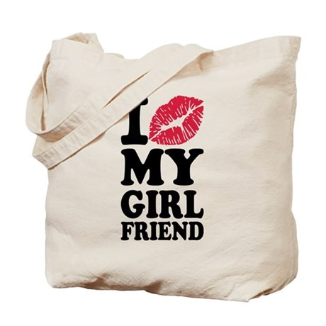 I love my girlfriend kiss Tote Bag