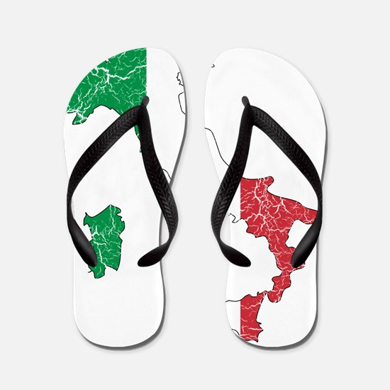 Italy Flag And Map Flip Flops