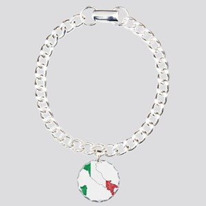 Italy Flag And Map Charm Bracelet, One Charm
