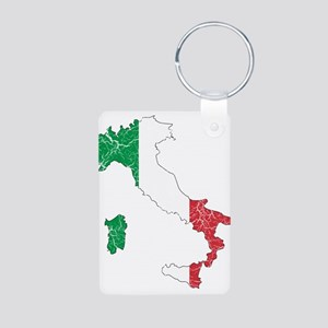 Italy Flag And Map Aluminum Photo Keychain